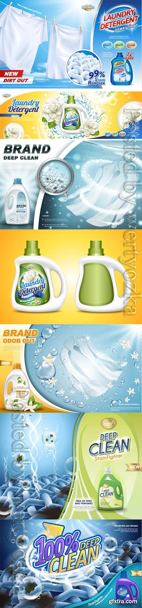 Laundry detergent ads vector collection