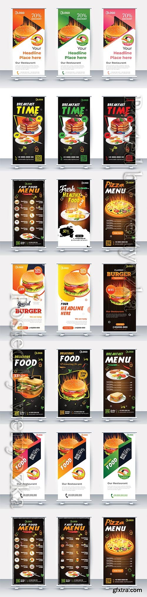 Fast food roll up banner restaurant menu template
