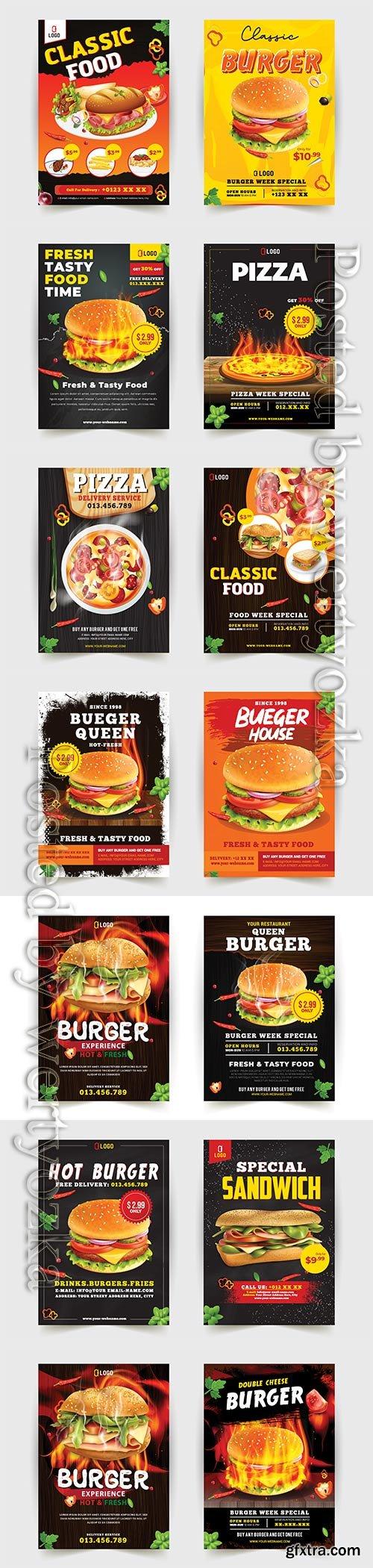Fast food flyer design template cooking, cafe and restaurant menu