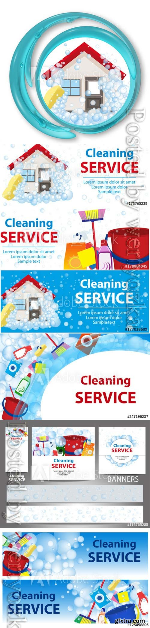 Poster template for house cleaning services vector design