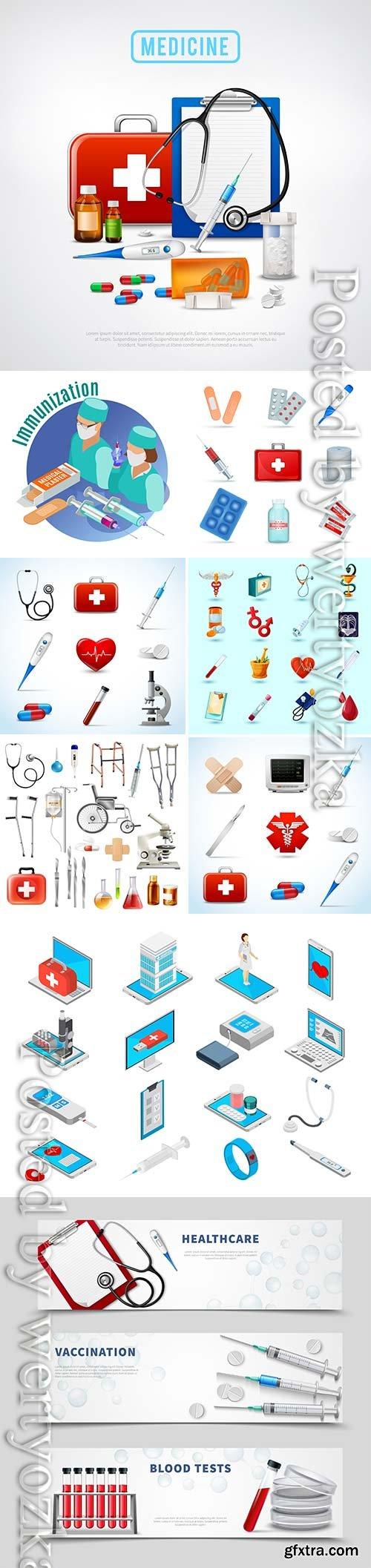 Medicine isometric concept with medical equipment symbols vector illustration
