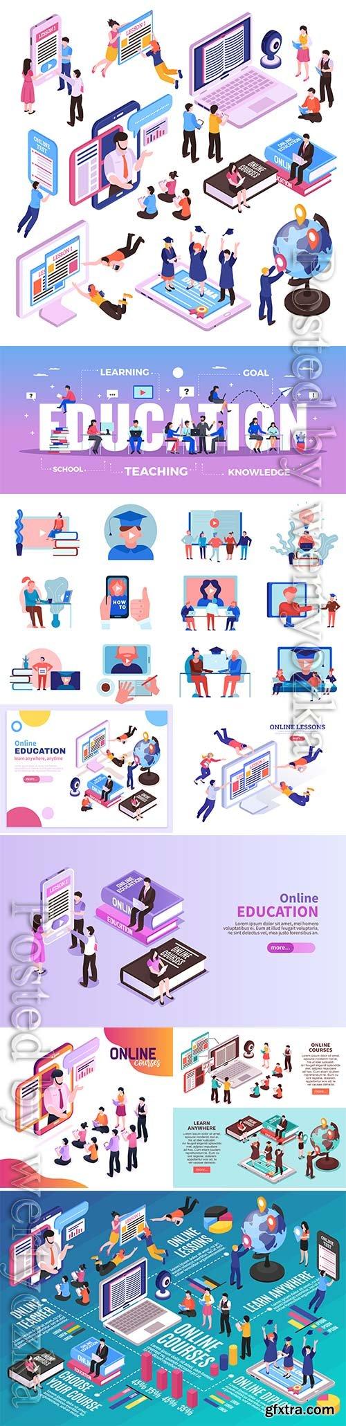 Online training vector infographics layout with electronic devices students