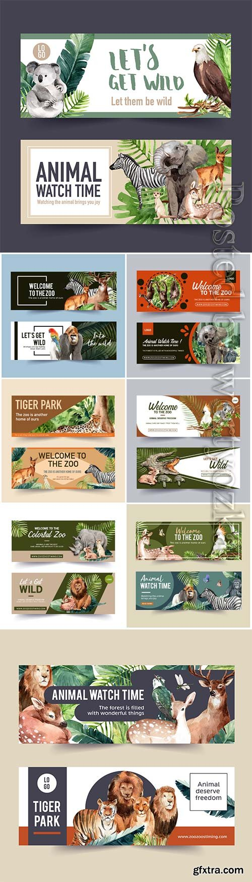 Zoo banner design with tiger, lion, deer watercolor illustration