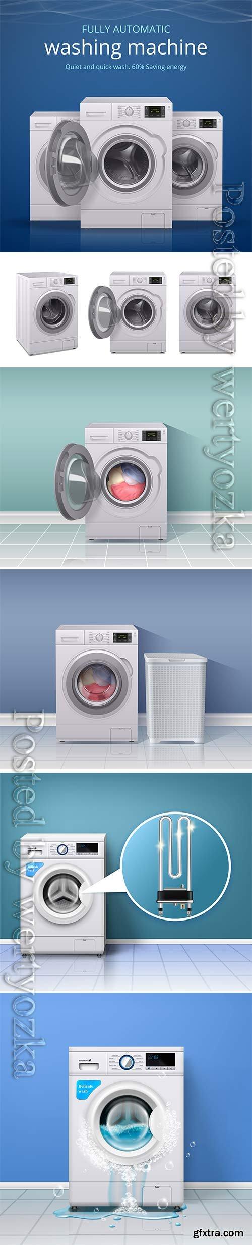 Washing machines in vector