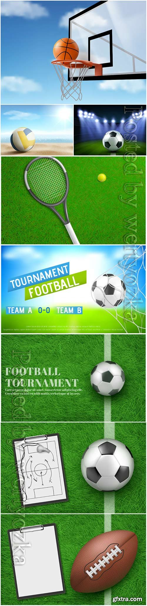 Sports balls in vector, soccer, volleyball, golf, basketball, rugby, tennis
