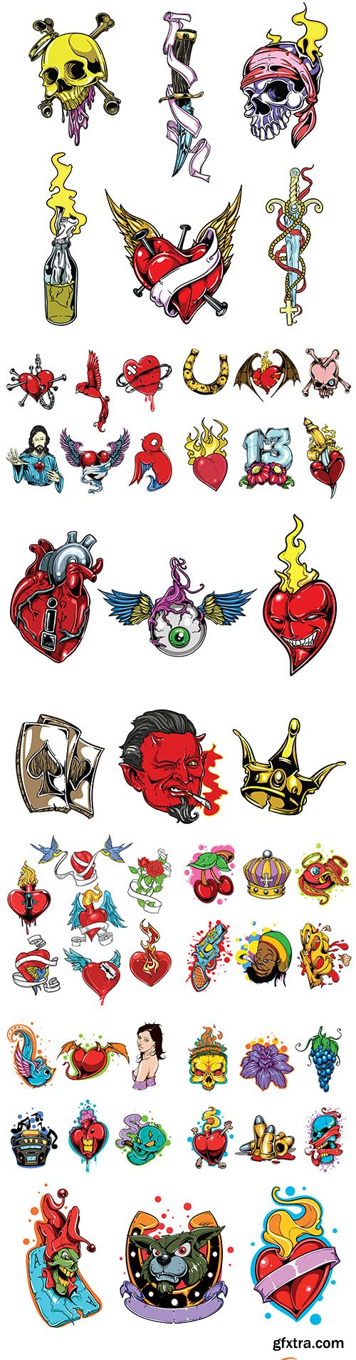 Colorful decorative elements of tattoos and emblems