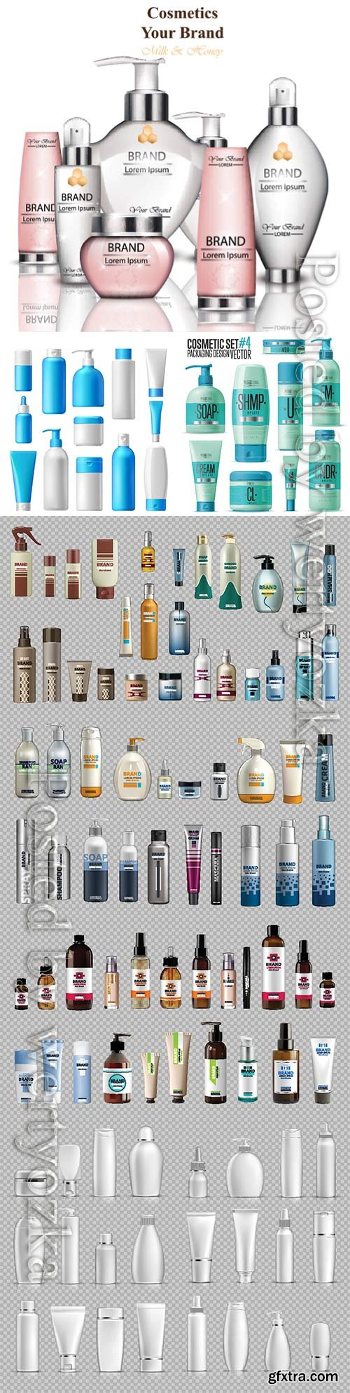 Cosmetic brand template, realistic bottle mock up set