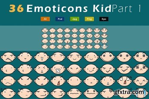 36 Emoticons Kid - Pack 1 GL