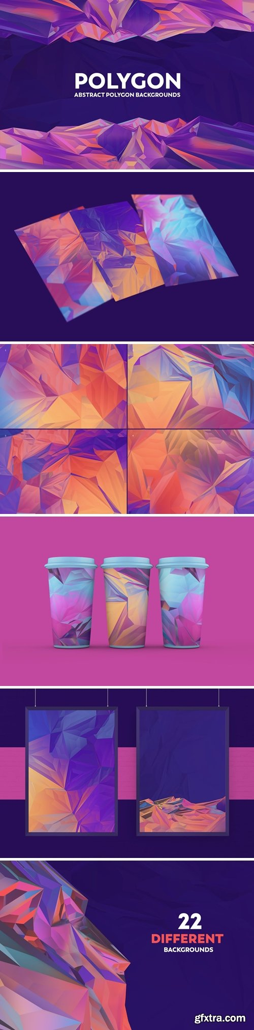 Abstract Polygon Backgrounds - Colorful Colors