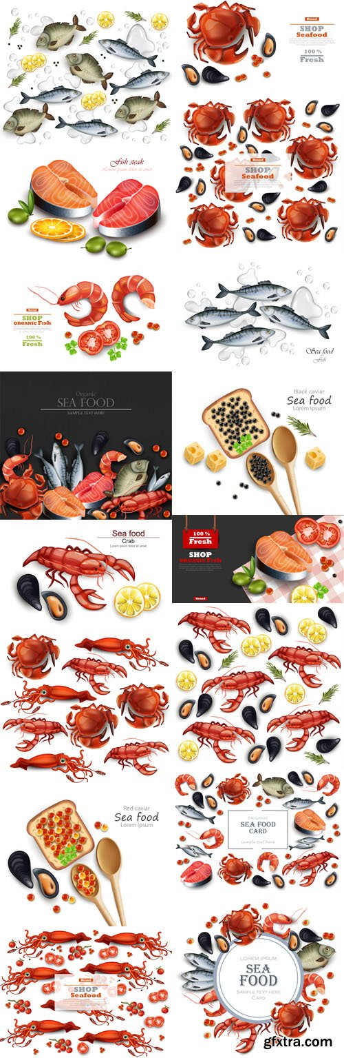 Seafood Vector Clipart Collection