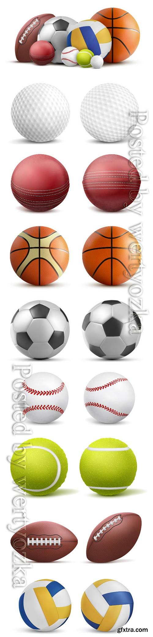 Sports balls, soccer, volleyball, baseball, tennis, golf, rugby vector template design