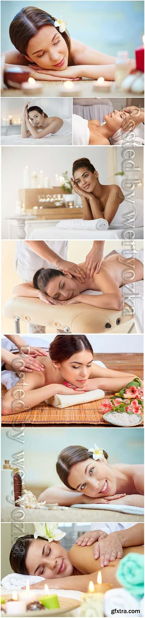 Beautiful girls in the spa salon, massage