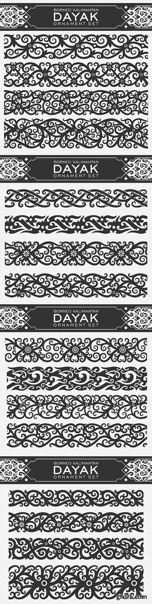 Borneo Kalimantan Dayak ornament set illustration design
