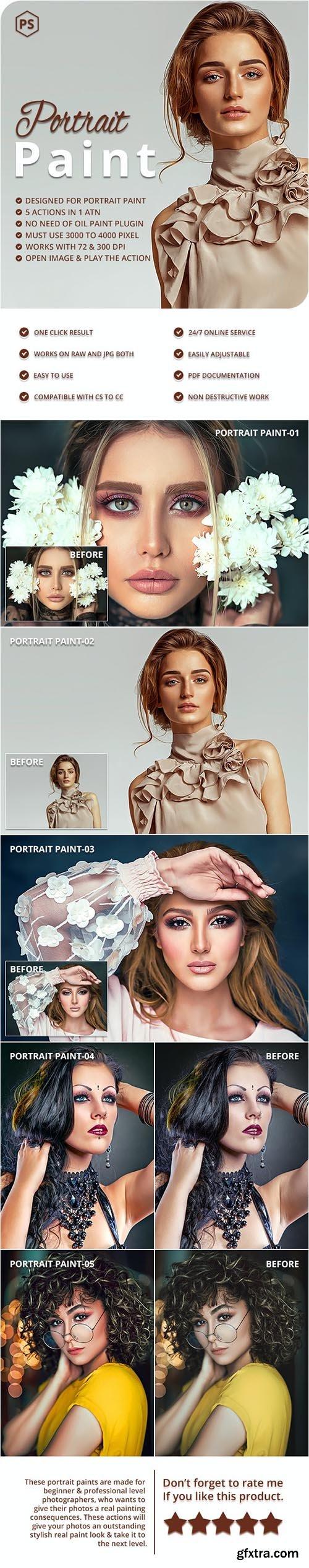 GraphicRiver - 5 Portrait Paint Photoshop Actions 27822401