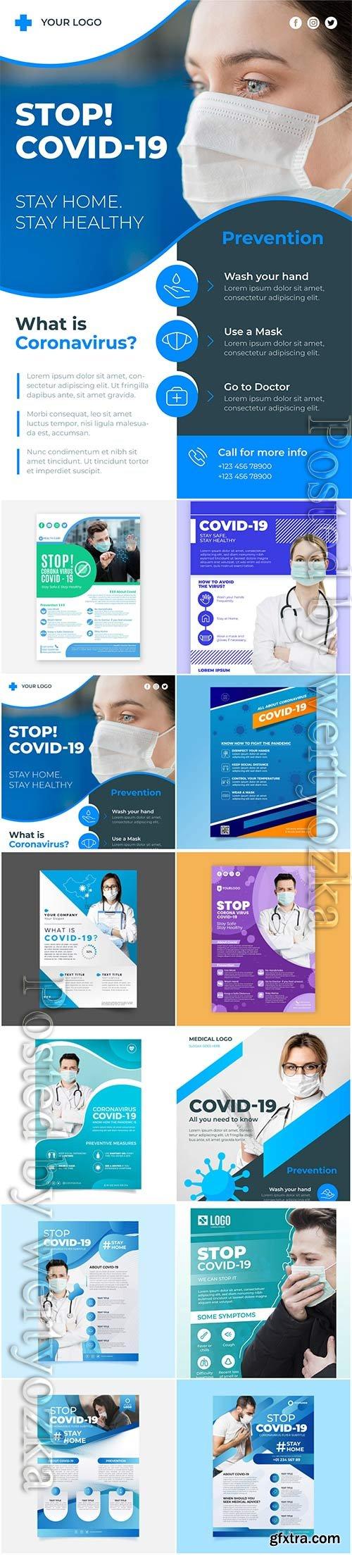 Realistic coronavirus vector background, stop covid-19 vol 3
