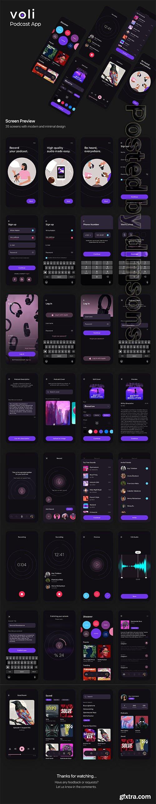 Voli Podcast App UI Kit