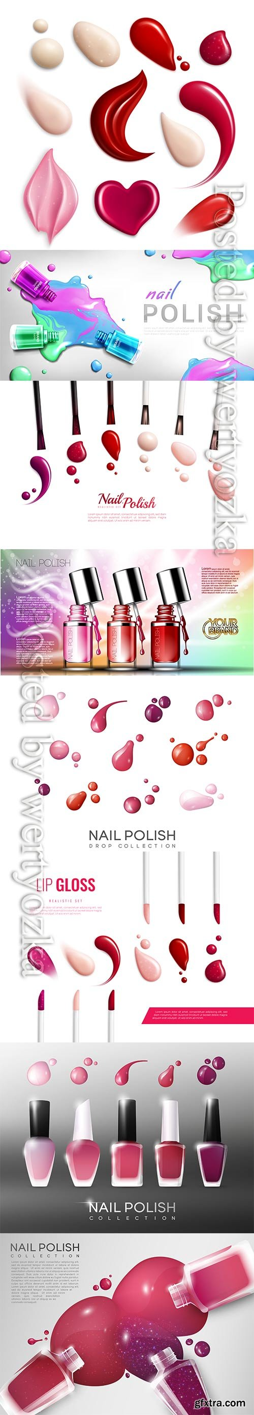 Realistic nail polish collection vector template
