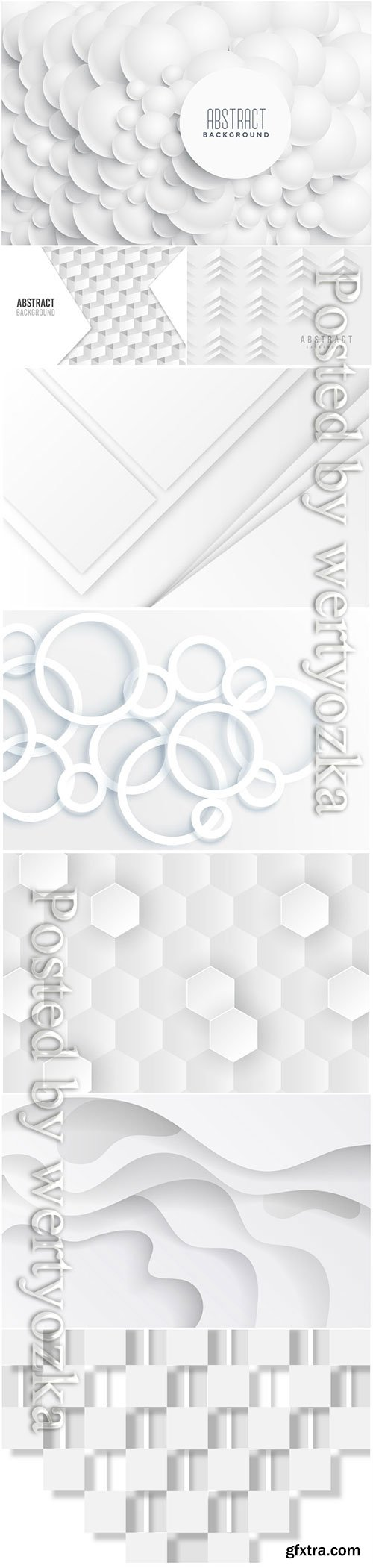 White abstract vector background, 3d models template