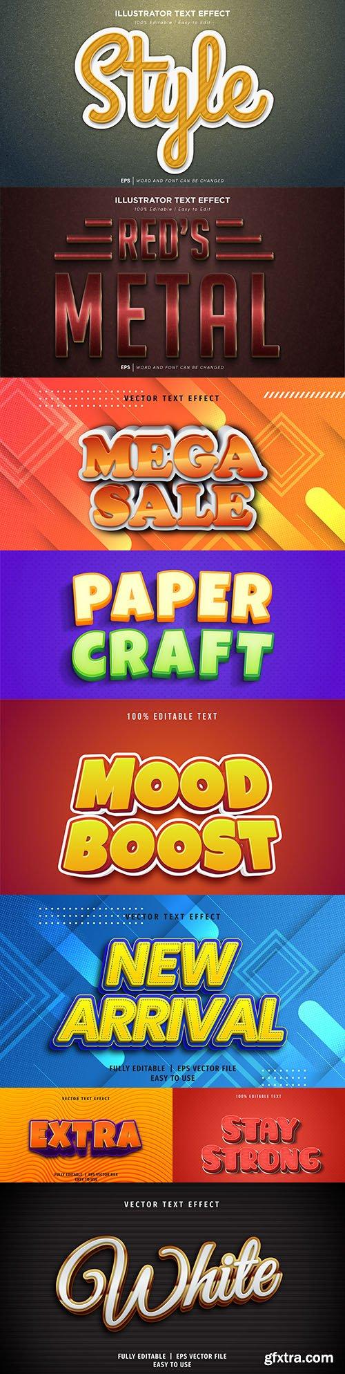 Editable font effect text collection illustration design 193