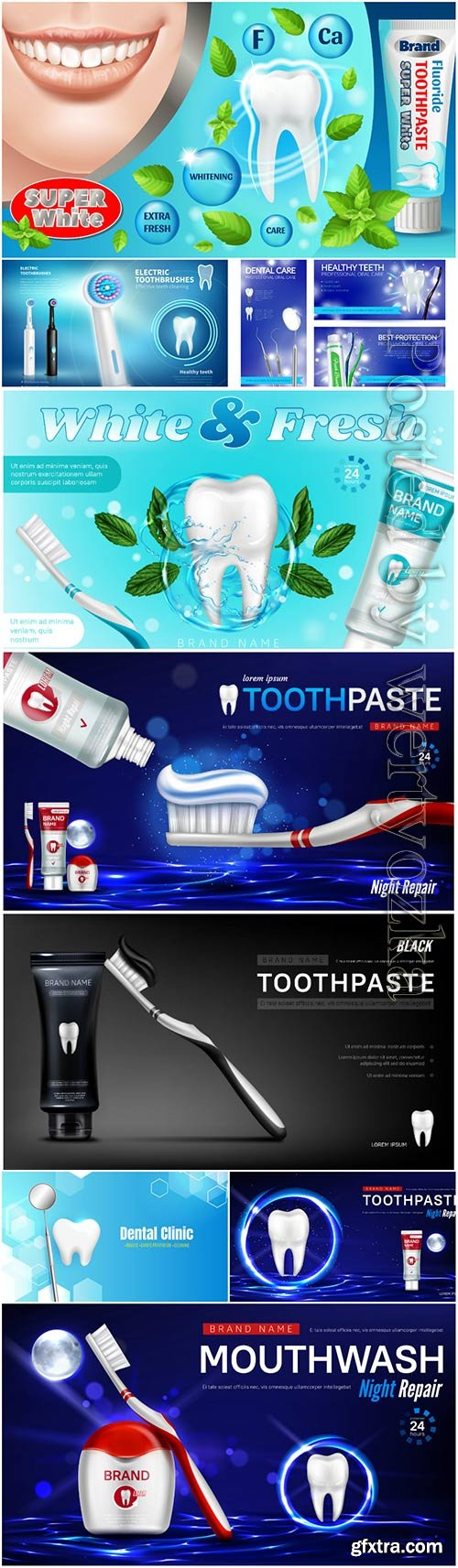 Toothpaste advertising vector posters, dentistry