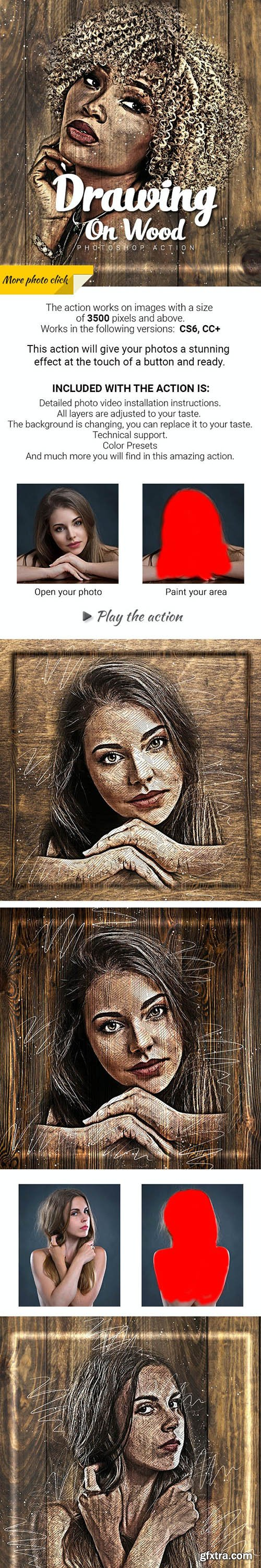 GraphicRiver - Drawing on Wood Photoshop Action 27545130