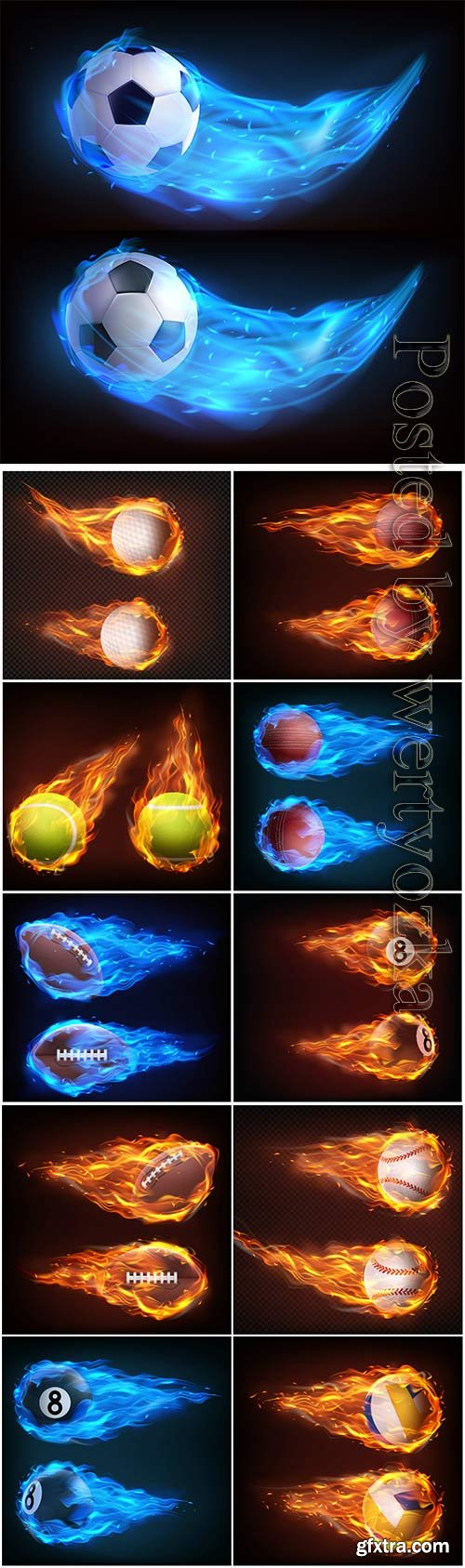 Balls flying in fire realistic vector