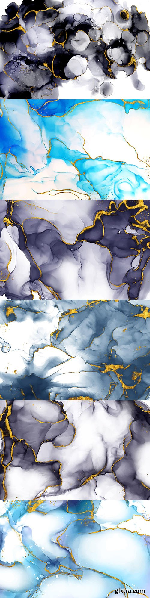 Abstract blue ink background and gold decor
