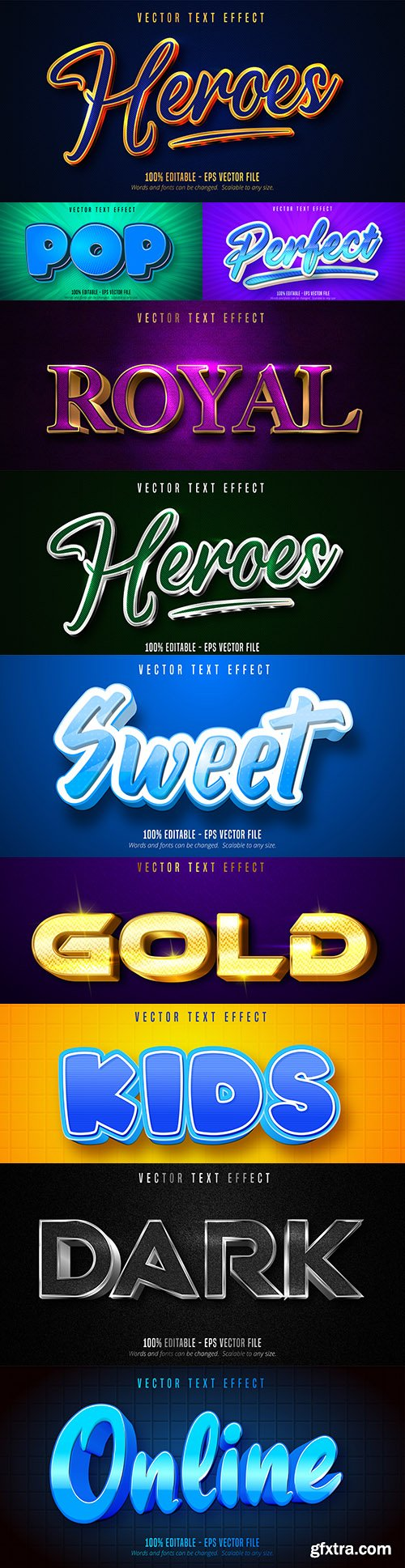 Editable font effect text collection illustration design 197