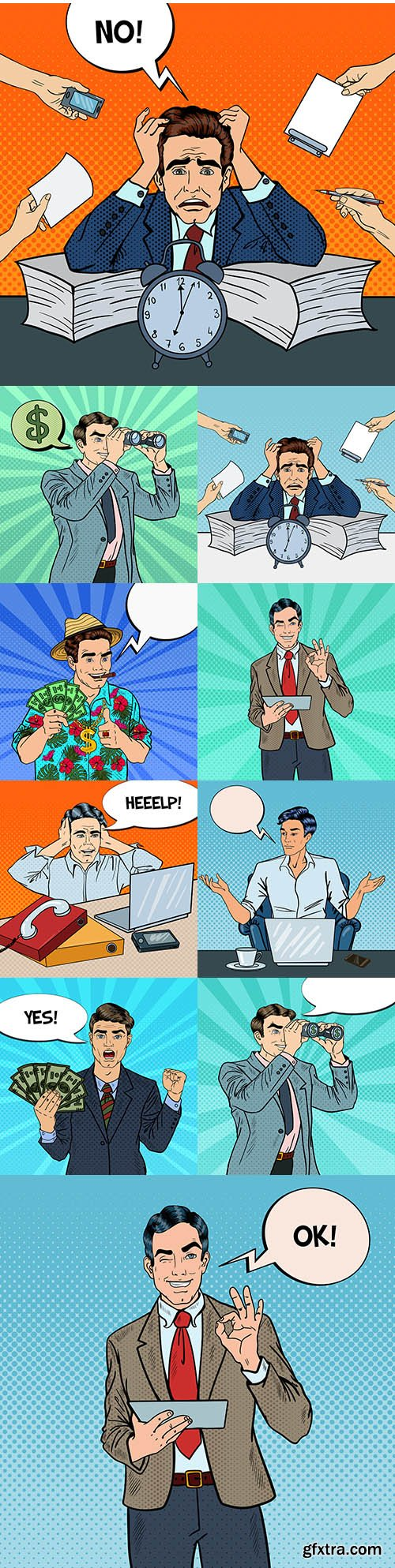 Pop art businessman in multitasking office work illustration