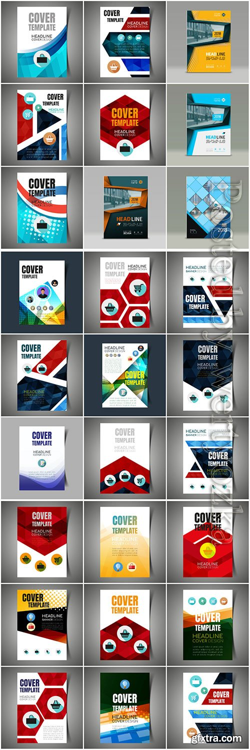 Brochures collection in vector, business name for company