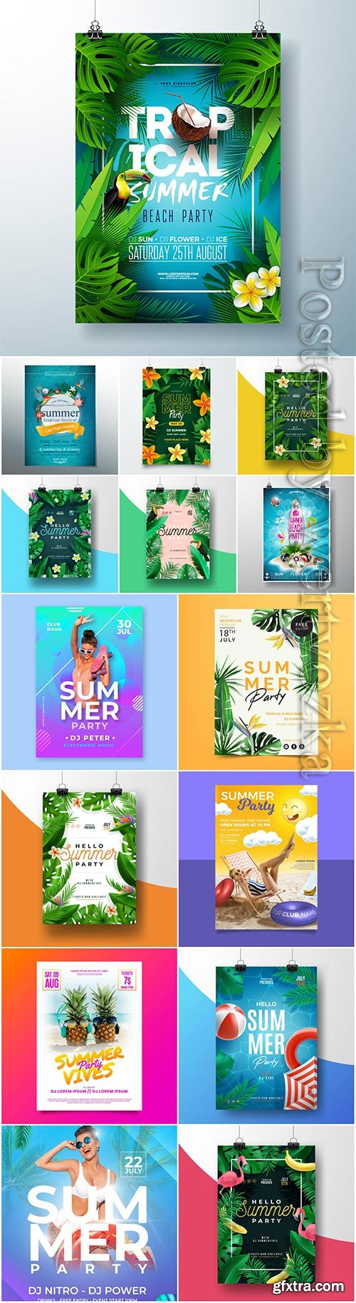 Summer party poster vector template