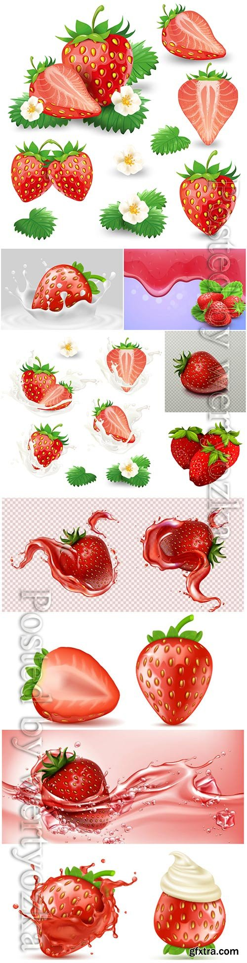 Strawberries, fruits and berries in vector