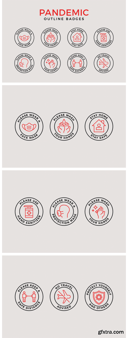 Pandemic Protection Outline Badges 5056319