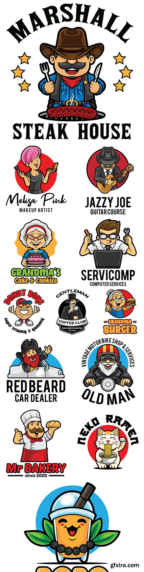 Emblem mascot and Brand name logos design 11