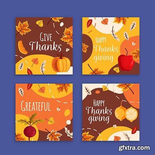 Flat Design Thanksgiving Instagram Post Collection