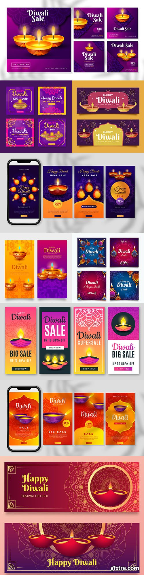 Diwali Indian traditional culture decoration illustration 6