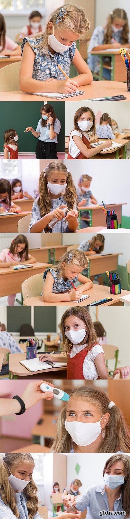 Back to school kids during covid concept