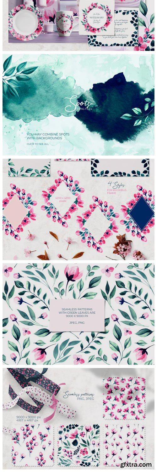 Floral Watercolor Collection. Pink Green 4743609