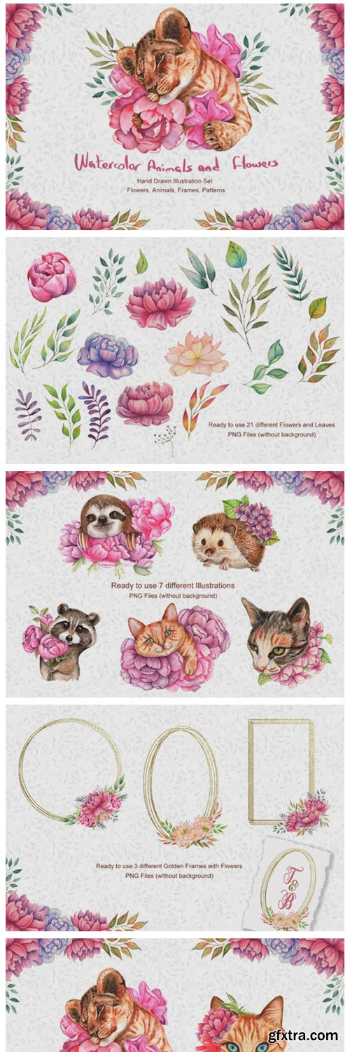 Watercolor Flowers and Animals Set 4974977