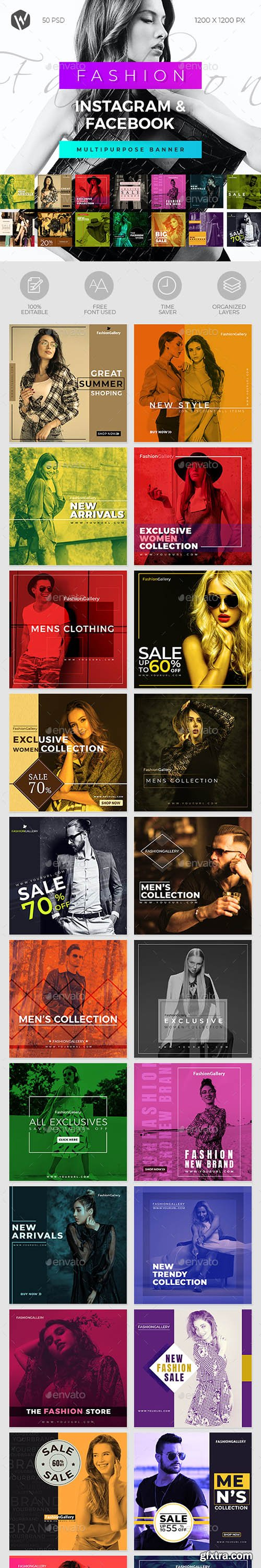 GraphicRiver - 50 Fashion Instagram & Facebook Banners 28479359