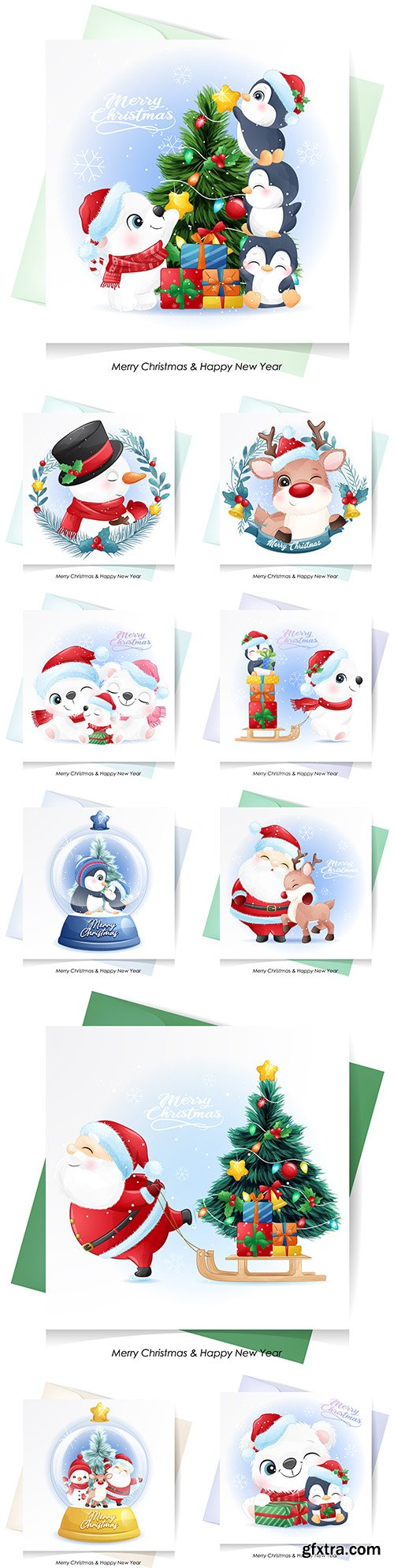 Cute Santa Claus, deer and snowman for Christmas with watercolor card