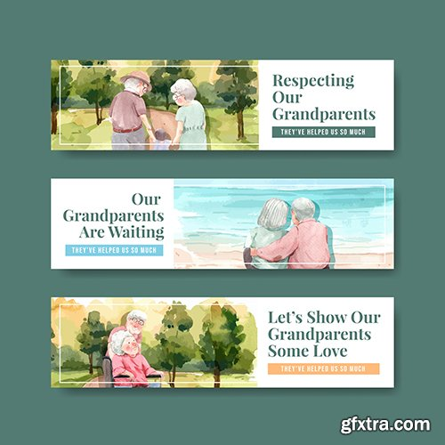 Banner Template with National Grandparents Day
