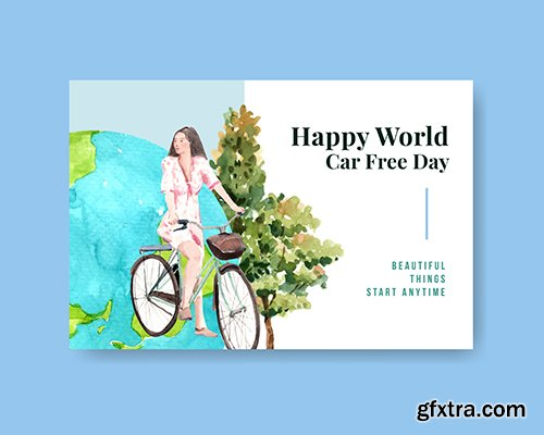 Facebook Template with World Car Free Day Concept Design