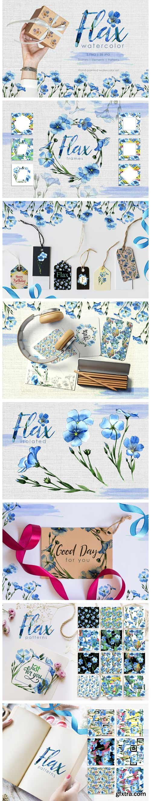 Flax Blue Watercolor 4751047
