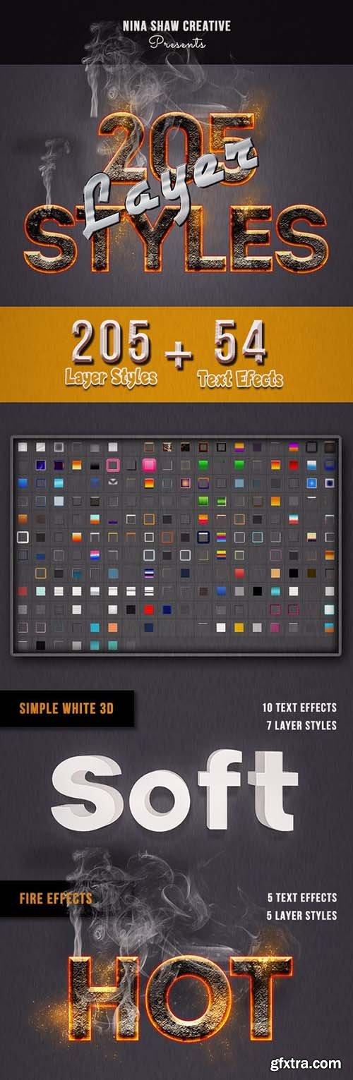 GraphicRiver - 205 Photoshop Layer Styles Bundle 28370150