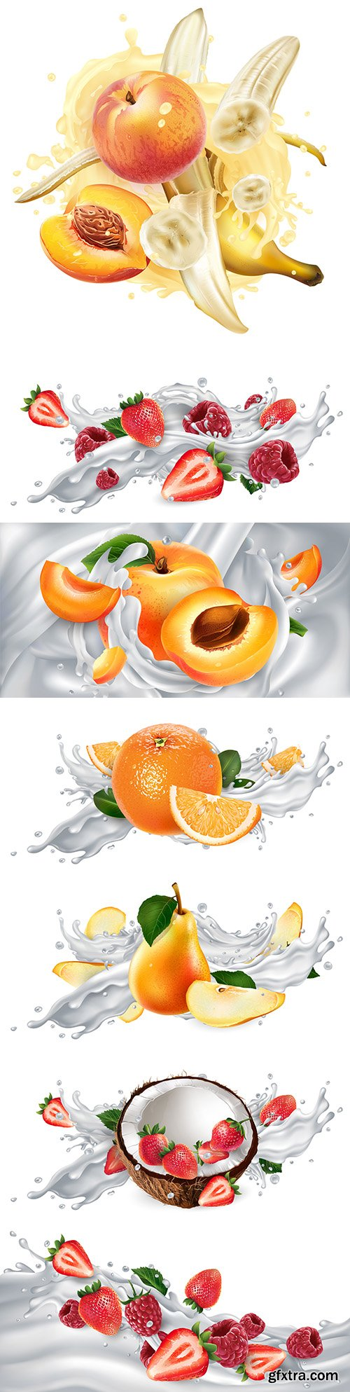Ripe fruit and berries in splash of milk or yogurt