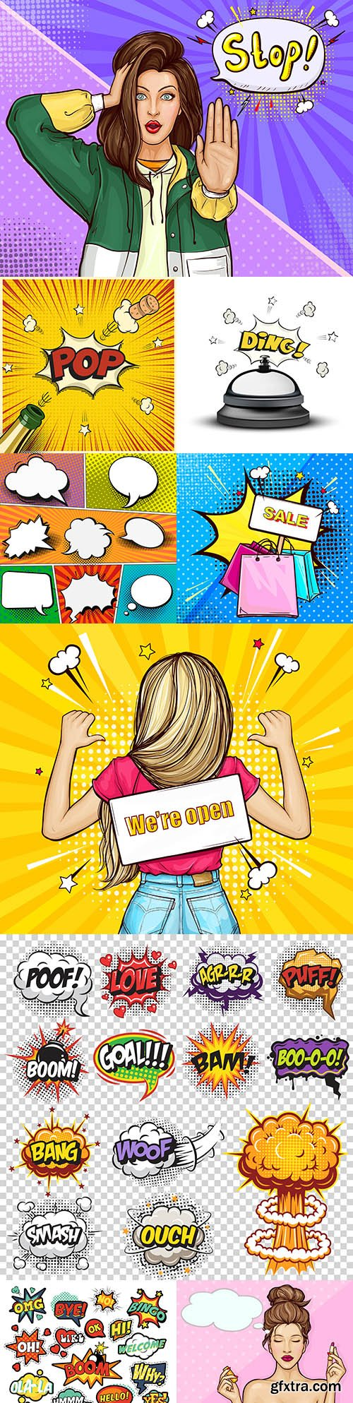 Pop art girl and speech comic book set design
