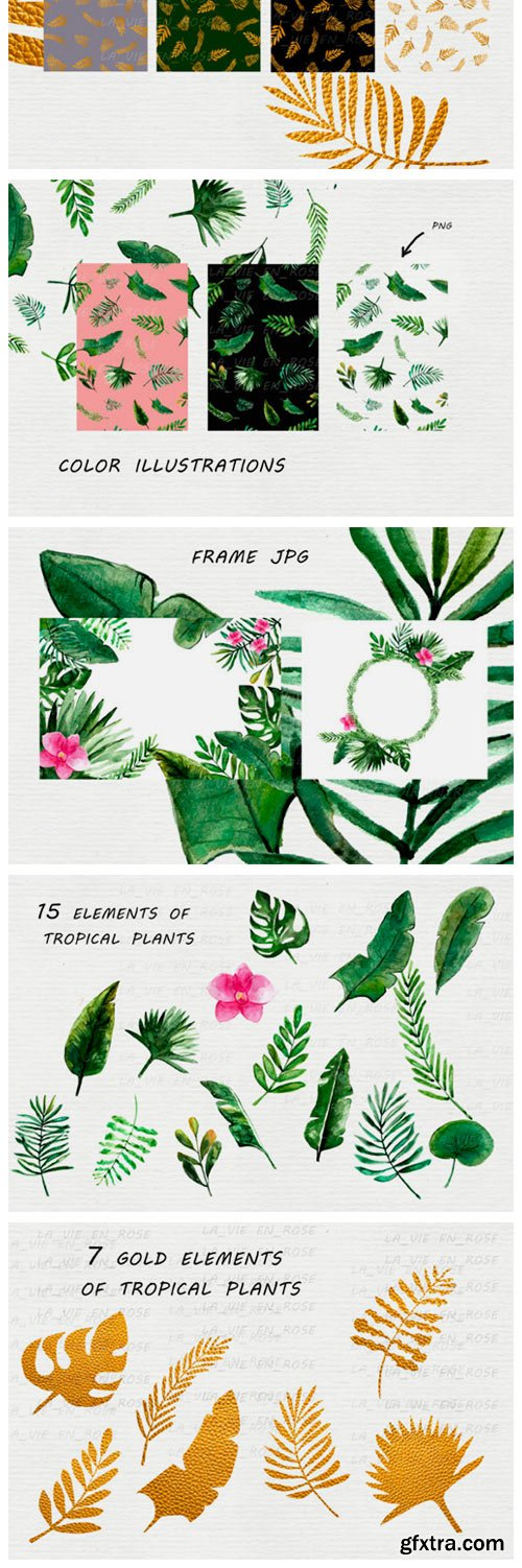 Watercolor Clipart with Tropical Leaves 5545797
