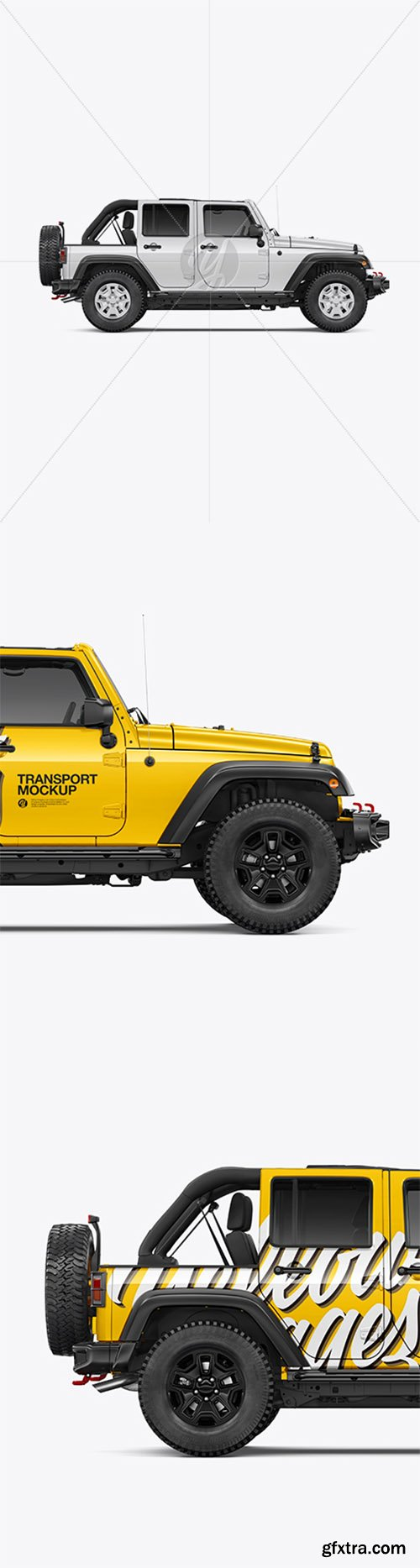 Off-Road SUV with Open Roof Mockup - Side View 39964