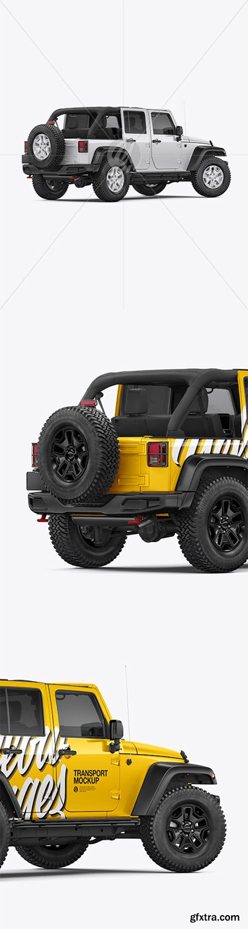 Off-Road SUV Open Roof Mockup - Back Half Side View 41105